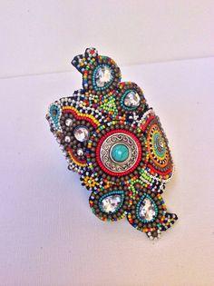 Beaded Cuff Bracelet, Tribal Bracelet, Boho Bracelet, Beadwork. Custom  Order - please allow one week for completion.   Beaded art   Pinterest    Tribal ...