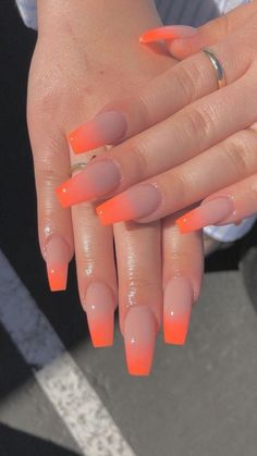 32 Trendy and Glamorous Ombre Coffin Nails for Your Inspiration; Ombré nails Pink orange nails long fingernails Acrylic Gel Nail Art Design Ideas For Summertime 201 Simple Acrylic Nails, Summer Acrylic Nails, Best Acrylic Nails, Acrylic Nail Designs, Orange Acrylic Nails, Simple Nails, Summer Nails Neon, Summer Toenails, Coffin Nails Designs Summer
