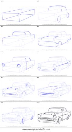 How to Draw a 1957 Chevy Bel Air printable step by step drawing sheet : DrawingT. - How to Draw a 1957 Chevy Bel Air printable step by step drawing sheet : - Car Drawing Pencil, Pencil Art Drawings, Art Drawings Sketches, Drawing Sheet, Basic Drawing, Step By Step Drawing, Perspective Drawing Lessons, Perspective Art, Cool Car Drawings
