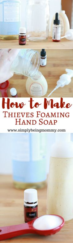 Save yourself some cash by learning how to make Thieves Foaming Hand Soap. via @simplymommy
