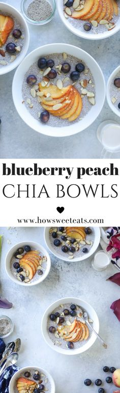 Blueberry Peach Chia Pudding Bowls with Toasted Almonds by @howsweeteats I howsweeteats.com