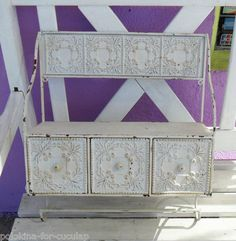 Vintage Tin Ceiling Tiles Shelf Drawers Towel Rack Shabby Distressed White Chic | eBay