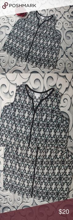 "Sheer Sleeveless Blouse Abstract Print Pure Energy Sheer Sleeveless Blouse Abstract Print Size 3X  Measurements: Chest: 50"" Length: 29""  Flower not included Pure Energy Tops Blouses"