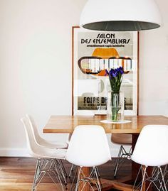 Dining Room, Dining Table, Vintage Poster, Square Table, Ambience Lighting, Kitchen Table, Wooden Table. Eames chair ...