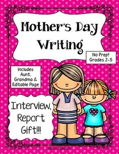 Grades 3-5 Looking for a great Mother's Day gift idea for your students to give? Want the time spent in the classroom to be meaningful? Then this sure is for you!  Student's love their mom and love writing about her. So why not use this as an informational writing piece and a great gift to give to Mom.  My students love to write informational text, but completing the research is challenging at times. For this piece of writing the students will interview their mother at home. The research is…