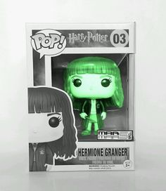"""HERMONE GRANGER HERRY POTTER FUNKO POP 03 VINYL FIGURE CUSTOM GLOW IN THE DARK. This Hermione GrangerFigure is a Glow in the Dark Custom Creation of Mar Mars Toys Exclusive. We havemade Hermione GrangerGLOW, for those true fan's that would appreciate and admire This Vinyl Figure from Harry Potter. Box is not grey, It's displayed this way to show glow in the dark affect.  Figures stands 3 ¾"""" tall! Awesome to collect! Ages 17 Plus  Each box comes with a displayable window box specially…"""