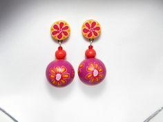 Ohrhänger -  Polymer Clay  Ohrringe Unikat Fimo gelb pink   - ein Designerstück von filigran-Design bei DaWanda
