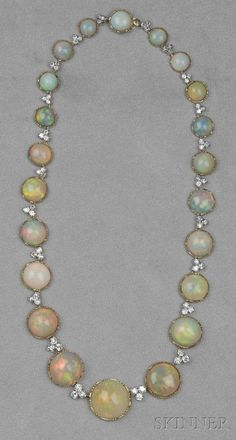 Necklace Collection : 18kt Gold Opal and Diamond Necklace x #opalsaustralia