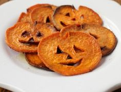 More Halloween Fun: Jack o' Lantern Sweet Potato Fries with coconut oil, cinnamon and cayenne.