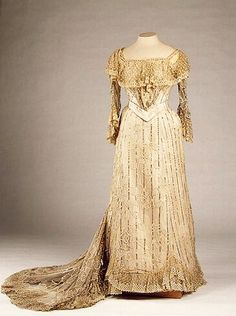 "Dress belonging to Empress Alexandra Feodorovna of Russia. ""AL"""