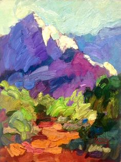 Larisa Aukon, Trailhead by Larisa Aukon Oil ~ 12 x 9 Landscape Art, Landscape Paintings, Mountain Paintings, Wow Art, Arte Floral, Painting Inspiration, Art Images, Painting & Drawing, Art Drawings
