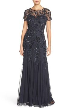Adrianna Papell Floral Beaded Trumpet Gown (Regular & Petite) available at #Nordstrom