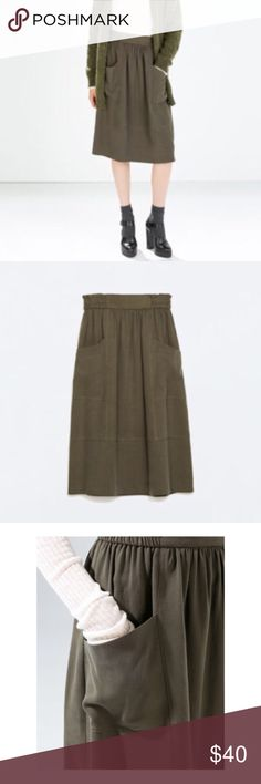 Zara Basic Army Green knee length skirt Zara knee length skirt in army green with pockets. Sits at the true waist and flows from there. Great for work or play- perfect with a sweater or basic tee! Never worn before so in perfect condition. Zara Skirts Midi