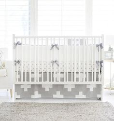 Our Gray Modern Baby Bedding Is Sophisticated And Gender Neutral Swiss Cross Crib Collection