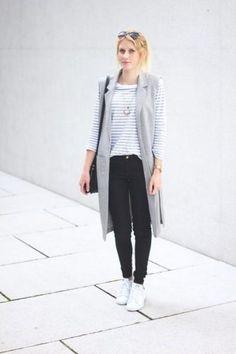 long gray vest, striped tee