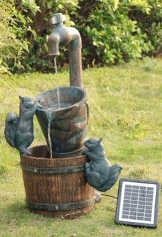 Solar Powered Tap And Squirrels Water Fountain