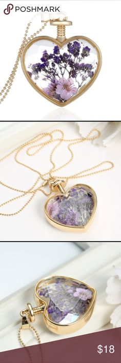 Gold Heart Locket Necklace Lavender Flowers Beautiful necklace. NWT Jewelry Necklaces