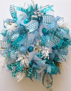 Deco Mesh Door Wreath-White and Silver Metallic Oasis Deco Mesh Wreath Turquoise Ribbons, Garland, Ornaments, Glitter and Sequin Curly-Cues