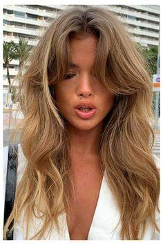 Haircuts For Wavy Hair, Long Hair With Bangs, Hairstyles With Bangs, Hair Side Bangs, Blonde Fringe Hairstyles, Side Fringe Bangs, Side Part Bangs, Bang Haircuts, Haircut Bangs