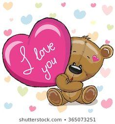 Bear Cartoon, Cute Cartoon, Urso Bear, Teddy Bear With Heart, Cute Winnie The Pooh, Heart Background, Lesage, Tatty Teddy, Cute Teddy Bears
