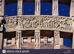 Carved Stories Of King Ashoka On Gate Of Sanchi Stupa ; Madhya Stock Photo, Royalty Free Image: 43166103 - Alamy