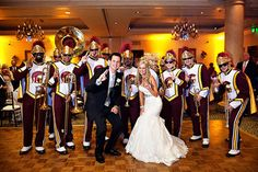 This couple got their college's marching band to start the after-wedding party - Photo Credit: William Innes Photography Marching Band Couples, The Ranch, Unique Weddings, Wedding Inspiration, Wedding Ideas, Wedding Themes, Wedding Stuff, Wedding Reception, Reception Ideas