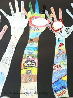"""Creating """"all about me"""" hands to tell their classmates about themselves"""