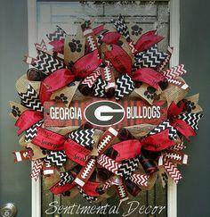 UGA Wreath, Burlap UGA Wreath, University of Georgia, Football Deco Mesh Wreath  This full, burlap mesh UGA wreath is the perfect way to show