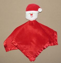 baby essentials red velour security blanket lovey christmas santa claus rattle