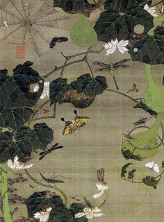 Detail. 池辺群虫図 Ikebe Gunchu-zu (Insects at a Pond). Ito Jakuchu. Japanese hanging scroll. Eighteenth century. 動植綵絵 Doshoku Sai-e, 第2期 part2 (1761-1765)