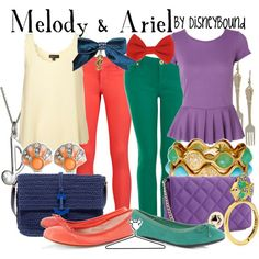 Melody & Ariel, created by lalakay on Polyvore #disney...these outfits are making me contemplate getting colored jeans!