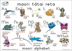 Maori alphabet with pictures Maori Words, Maori Designs, Kindergarten Rocks, Maori Art, Kiwiana, Busy Bags, Pre School, Girl Scouts, Early Childhood
