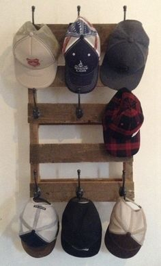 For those of you who need some hat rack ideas more than anyone, I believe you are in love with caps and hats. You must be one of those hats and caps collector o. Find and save ideas about Hat racks, Hat hanger, Diy hat rack in this article. Wall Hat Racks, Diy Hat Rack, Diy Organization, Baseball Hat Racks, Baseball Caps, Baseball Hat Display, Cowboy Hat Rack, Ideas Armario, Diy Room Decor