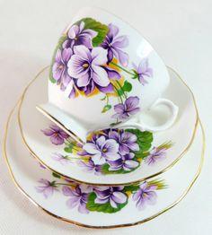 Art Deco Trio Staffordshire Gainsborough Violet Pansy Bone China Trio by keepsies on etsy £18.00