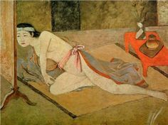 'Japanese Girl by the Red Table' (1967) by Polish-French Modern artist Balthus (1908-2001). Oil on canvas. via WikiPaintings