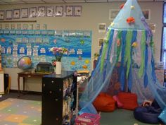 Ocean/Beach reading corner - mosquito net with streamers and ocean animals hanging from it. - Love it, would be easy to make.