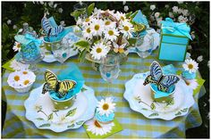 Beautiful blue - white - butterflies - daisies table - would be great for a tea or shower - friends celebration