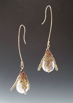 Peyote Stitched Bronze Flower Drop Earrings with Rock Crystal. $98.00, via Etsy.