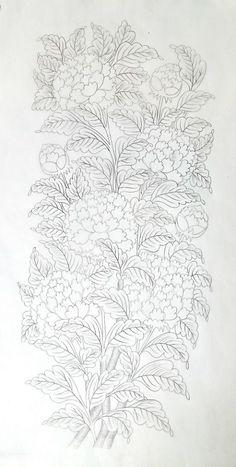 0번째 이미지 Colouring Pages, Coloring Books, Bijoux Wire Wrap, Korean Painting, Pencil Design, Floral Drawing, Thai Art, Silk Art, Korean Art