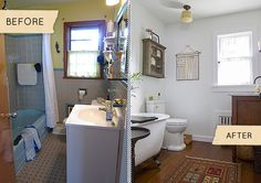 bathroom makeovers fast renovation tips before after photos video, bathroom ideas, home decor, home improvement, small bathroom ideas, Great before and after shots of a small bathroom Looks bigger cleaner and brighter