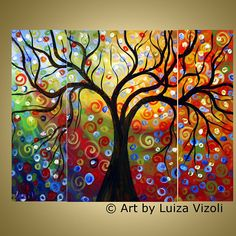 Journey ~ORIGINAL PAINTING ~Triptych Oil Landscape Abstract Tree Painting Dimensions: of 3 canvases: 1 canvas and 2 canvases Artist: Luiza Vizoli - Style: Modern - Signed front & rear - Certification of Authenticity with my signature attached - Shipping Abstract Tree Painting, Oil Painting On Canvas, Abstract Oil, Large Painting, Landscape Art, Landscape Paintings, Oil Paintings, Paintings Online, Flower Paintings