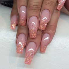 nude with multicolor glitter nails