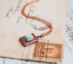 Tiny Copper Book Locket Necklace Mint Rose by redtruckdesigns