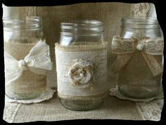 Burlap and lace flower vases