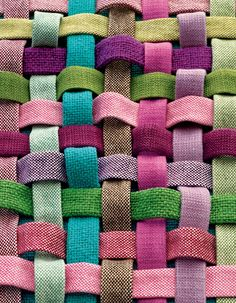 basketweave of various fabrics to show color and texture detail