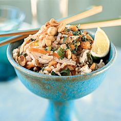 Sesame Brown Rice Salad with Shredded Chicken and Peanuts Recipe | MyRecipes.com