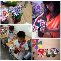 Handmade EVA Flower Pot Educational Toy Kids DIY Craft Kits For Children Girls
