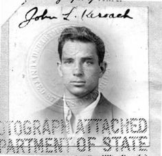 """This is the passport photograph of Jack Kerouac an American novelist and poet. He was born in Lowell, Massachusetts, to French-Canadian parents, Léo-Alcide Kéroack and Gabrielle-Ange Lévesque. Interestingly, here he signed his name as """"John L. Jack Kerouac, Passport Pictures, Roman Candle, Hippie Movement, Hippie Man, Beat Generation, Writers And Poets, Beatnik, Jazz Musicians"""