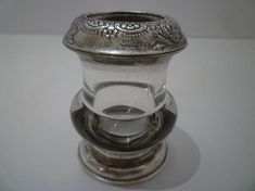 TOOTHPICK HOLDER.  STERLING Silver and Crystal. Vintage   (Love this shape)