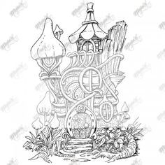 fairy tree house coloring pages Google Search Fantasy